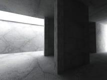 Dark concrete interior. Empty room. Architecture background. 3d render illustration Stock Photos