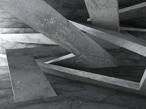 Dark concrete room with chaotic geometric constructions. Archite Royalty Free Stock Photography
