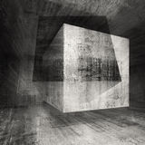 Dark concrete room 3d background illustration with cubes Stock Images