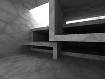 Dark concrete room. Empty interior. Architecture background. 3d render illustration Royalty Free Stock Photo