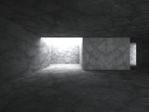 Dark concrete room interior. Abstract architecture background. 3d render illustration Stock Photos
