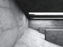Dark concrete room interior. Abstract architecture background. 3d render illustration Royalty Free Stock Image