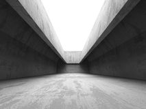 Dark concrete room interior. Abstract architecture industrial ba stock photo