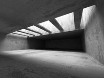 Dark concrete room interior. Abstract architecture industrial ba Stock Photos