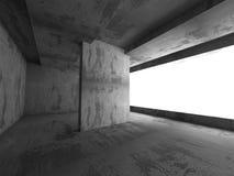 Dark concrete room interior. Architecture background. 3d render illustration Royalty Free Stock Images
