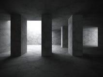 Dark concrete room interior background. Modern architecture. 3d render illustration Royalty Free Stock Photos
