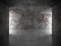 Dark concrete room interior with lights. Grunge architecture bac Royalty Free Stock Photography