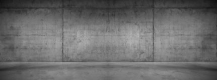 Dark Concrete Wall Panorama Wide Modern Background Texture. Concrete Wall Elements Room wide panoramic background scene with stone floor as design background or royalty free stock photography