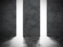 Dark concrete wall room with tile floor. Architecture modern bac. Kground. 3d renderillustration Royalty Free Stock Photo