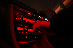 Dark Console. Dark almost infrared image of a vehicle's control panel stock photo