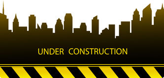 Construction background with city silhouette Stock Image