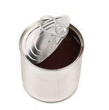 Dark contents into opened tin can. Royalty Free Stock Photos
