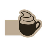 dark contour cup coffee with cream icon Royalty Free Stock Photo