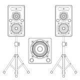 Dark contour loudspeakers on stands and subwoofer technical illustration Royalty Free Stock Photo