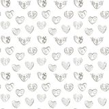 Dark contours linear hearts with cages, zigzags and horns background seamless vector pattern from the doodle hand. vector illustration