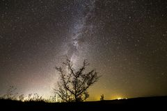 Dark contrast silhouette of tree on dark starry sky, Milky Way g. Beautiful panorama, rural landscape at night. Dark contrast silhouette of lonely tree on dark stock images
