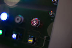 Dark control pannel with red reset button Stock Photo