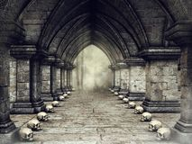 Dark corridor with skulls Royalty Free Stock Image