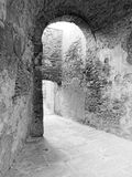 Dark corridors of an old fortification structure . Tuscany, Italy . Black and white photo Stock Photography
