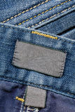 Dark Cotton Labels On Jeans Royalty Free Stock Photo