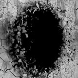 Dark cracked broken wall in concrete wall. Grunge background. 3d render illustration Royalty Free Stock Images