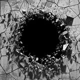 Dark cracked broken wall in concrete wall. Grunge background. 3d render illustration Stock Photos