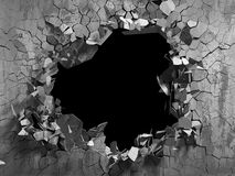 Dark cracked broken wall in concrete wall. Grunge background. 3d render illustration Royalty Free Stock Image