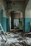 Dark and creepy corridor of old abandoned hospital.  royalty free stock photography