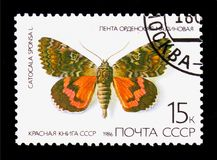 Dark Crimson Underwing (Catocala sponsa), Butterflies serie, cir. MOSCOW, RUSSIA - MARCH 29, 2018: A stamp printed in USSR (Russia) shows royalty free illustration