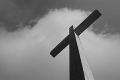 Dark cross. Huge cross against a dark sky Royalty Free Stock Images