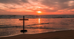 Dark Cross Beach Royalty Free Stock Photography
