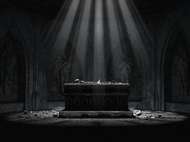Dark crypt with a creepy altar royalty free illustration