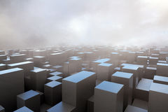 Dark cubes in fog Royalty Free Stock Photos