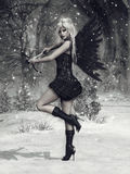 Dark cupid with a bow Stock Image