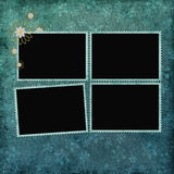 Dark cyan abstract background with frames Royalty Free Stock Images