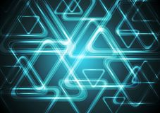 Dark cyan glowing triangles. Tech geometric Stock Image
