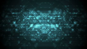 Dark cyan neon cyberspace tech video animation. Dark cyan neon cyberspace tech motion background. Video animation Ultra HD 4K 3840x2160 stock illustration