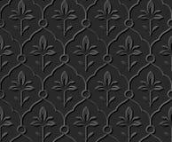 Dark 3D paper art 571 elegant curve round cross flower. Antique paper art retro abstract seamless pattern background Vector Illustration