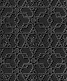 Dark 3D paper art 514 Islamic geometry cross polygon star Royalty Free Stock Images
