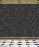 Dark Damask Wall and Marble Floor stock photo