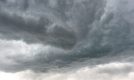 Dark dangerous gray storm clouds of thunderstorm in Idaho sky Stock Image