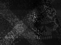 Dark death danger x cross gloomy scull shadow. Grunge cartoon spotted halftones black modern background. Distress damaged skull Stock Photo