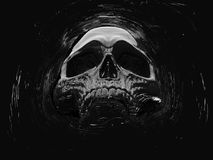 Dark death skull floating in space. Isolated on black background royalty free illustration