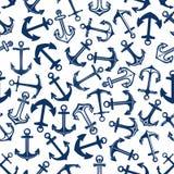Dark or deep blue marine anchors seamless pattern Stock Photo