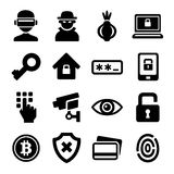 Dark Deep Internet and Security Icons Set. Vector. Illustration Stock Photo