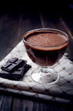 Dark and delicate chocolate mousse Stock Photos