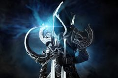 Dark demon cosplay. Man in a fantasy costume of a dark demon, cosplay Stock Photos