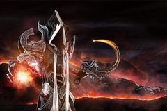 Dark demon cosplay. Man in a fantasy costume of a dark demon, cosplay Royalty Free Stock Photos