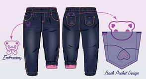 Dark denim pants with funny embroideries. Front and back view of pants with funny embroideries. Pink lining inside vector illustration