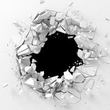 Dark destruction cracked hole in white stone wall Stock Photo